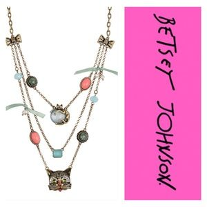 Betsey Johnson Cat Illusion Triple Necklace